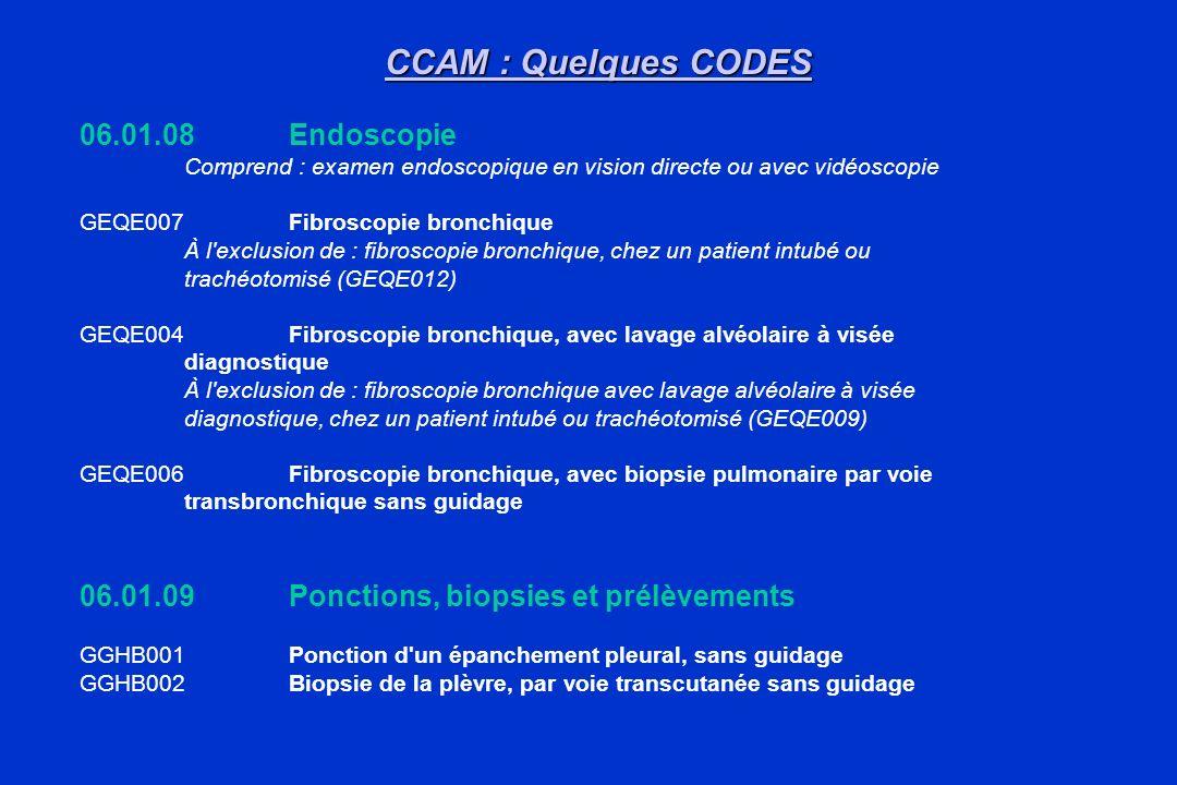 CCAM : Quelques CODES 06.01.08Endoscopie Comprend : examen endoscopique en vision directe ou avec vidéoscopie GEQE007Fibroscopie bronchique À l'exclus