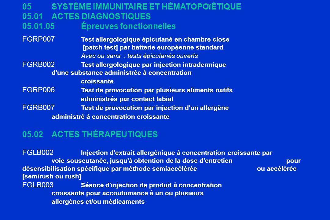 05SYSTÈME IMMUNITAIRE ET HÉMATOPOïÉTIQUE 05.01ACTES DIAGNOSTIQUES 05.01.05Épreuves fonctionnelles FGRP007 Test allergologique épicutané en chambre clo