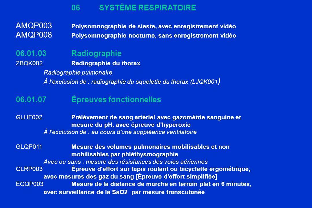 06SYSTÈME RESPIRATOIRE AMQP003 Polysomnographie de sieste, avec enregistrement vidéo AMQP008 Polysomnographie nocturne, sans enregistrement vidéo 06.0