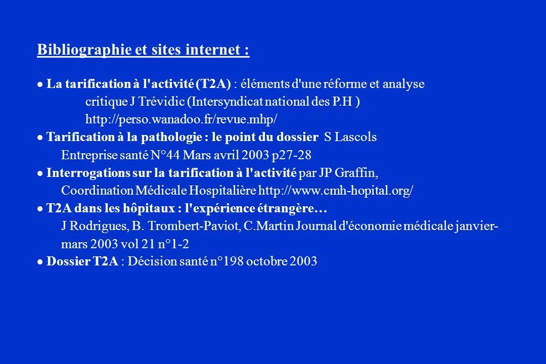 Bibliographie et sites internet : La tarification à l'activité (T2A) : éléments d'une réforme et analyse critique J Trévidic (Intersyndicat national d