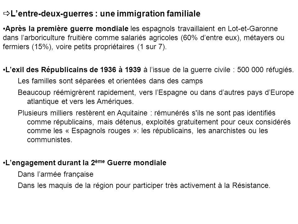 Lentre-deux-guerres : une immigration familiale Après la première guerre mondiale les espagnols travaillaient en Lot-et-Garonne dans larboriculture fruitière comme salariés agricoles (60% dentre eux), métayers ou fermiers (15%), voire petits propriétaires (1 sur 7).