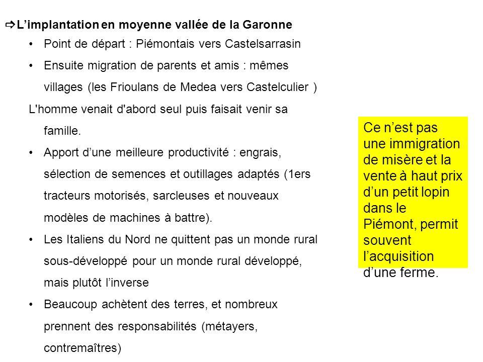 Limplantation en moyenne vallée de la Garonne Point de départ : Piémontais vers Castelsarrasin Ensuite migration de parents et amis : mêmes villages (