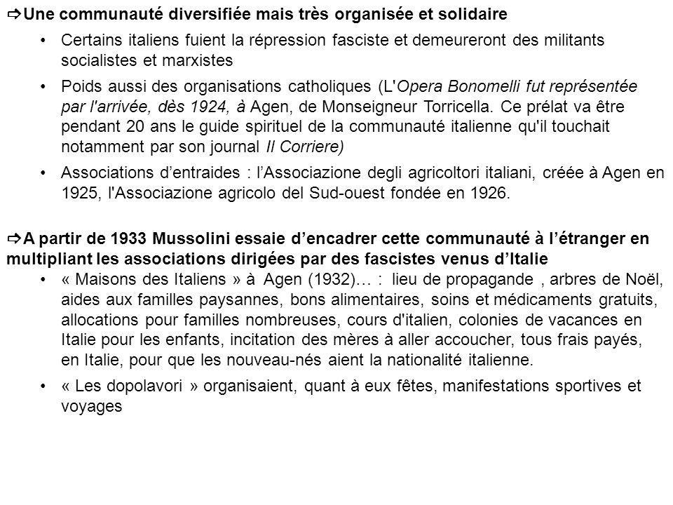 Une communauté diversifiée mais très organisée et solidaire Certains italiens fuient la répression fasciste et demeureront des militants socialistes et marxistes Poids aussi des organisations catholiques (L Opera Bonomelli fut représentée par l arrivée, dès 1924, à Agen, de Monseigneur Torricella.