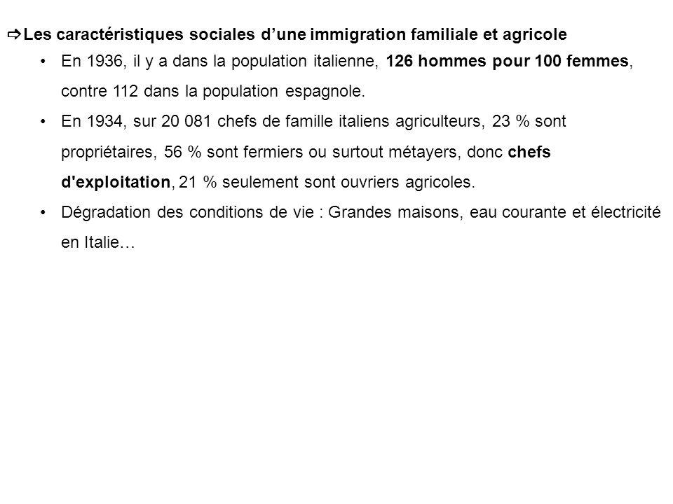 Les caractéristiques sociales dune immigration familiale et agricole En 1936, il y a dans la population italienne, 126 hommes pour 100 femmes, contre 112 dans la population espagnole.