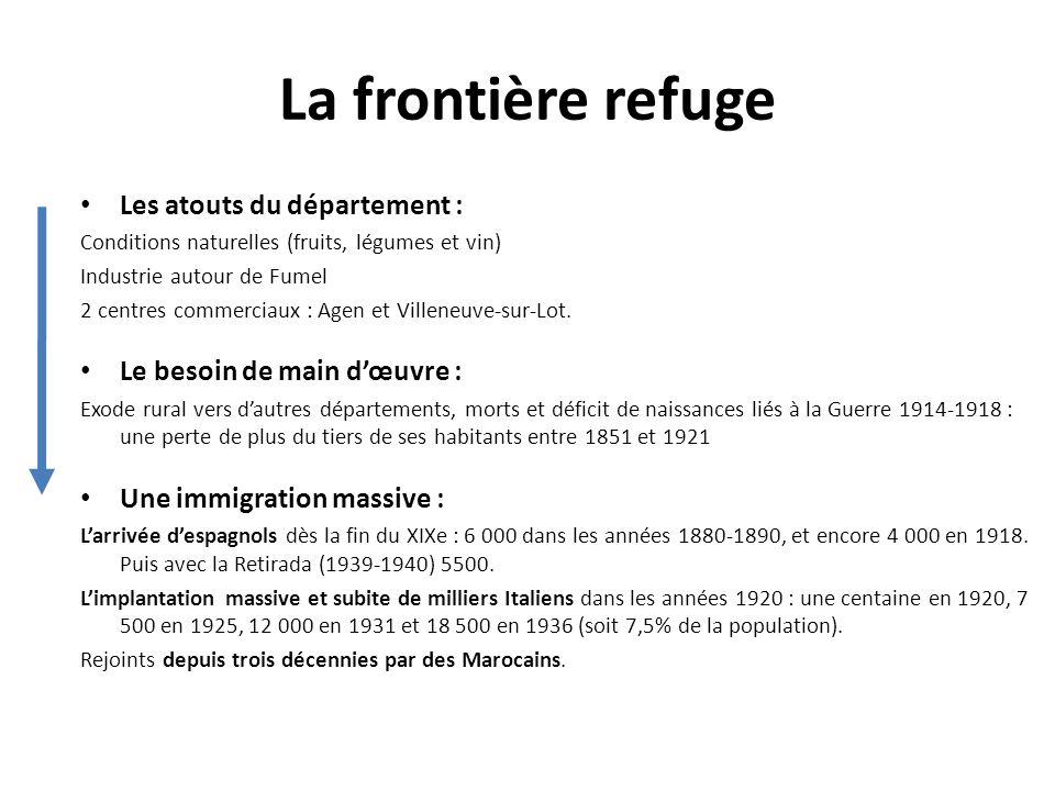 La frontière refuge Les atouts du département : Conditions naturelles (fruits, légumes et vin) Industrie autour de Fumel 2 centres commerciaux : Agen et Villeneuve-sur-Lot.