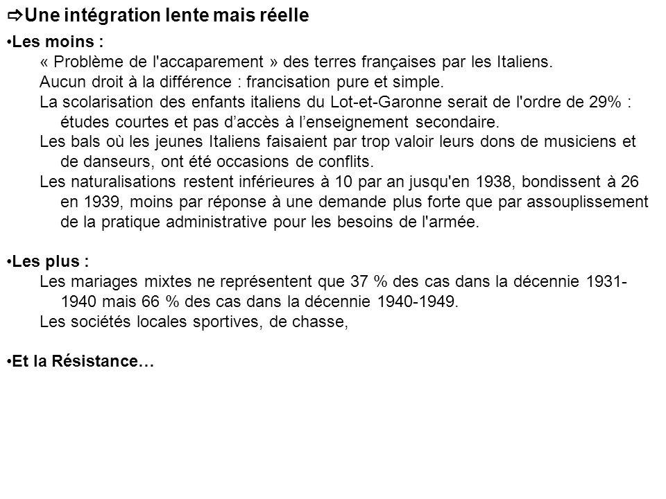 Une intégration lente mais réelle Les moins : « Problème de l'accaparement » des terres françaises par les Italiens. Aucun droit à la différence : fra