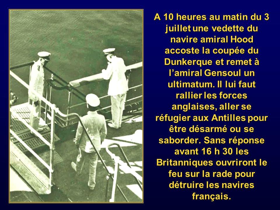 Considérant lalliance Franco britannique rompue, Churchill lance alors en hâte et secret lopération « catapult » consistant à prendre le contrôle ou détruire la flotte française disséminée dans les ports anglais, à Mers-el-Kebir Alexandrie et Dakar.
