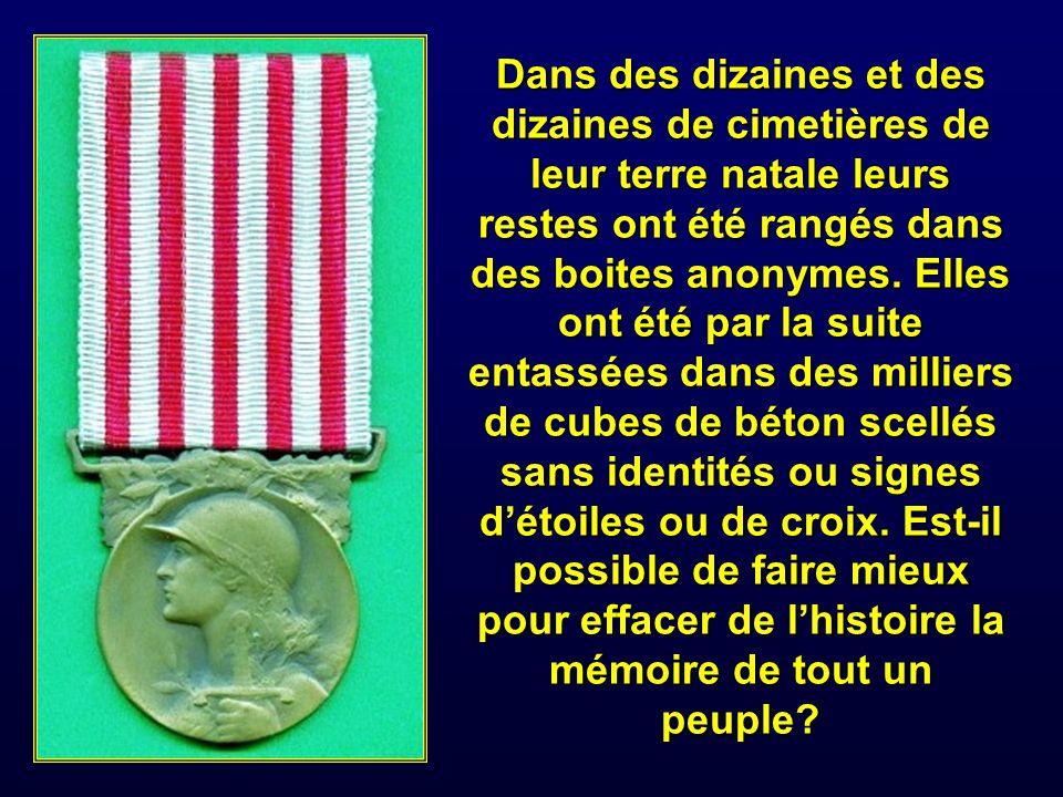 Des dizaines de milliers de héros survivants étaient morts paisiblement plus tard, dans leurs départements français dAlgérie créés en 1848 et où ils étaient nés comme leurs parents.
