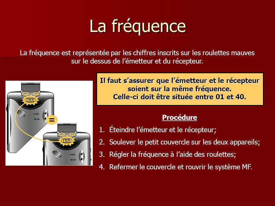 La fréquence La fréquence est représentée par les chiffres inscrits sur les roulettes mauves sur le dessus de lémetteur et du récepteur.
