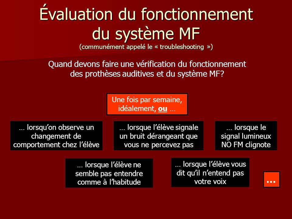 Évaluation du fonctionnement du système MF (communément appelé le « troubleshooting ») Quand devons faire une vérification du fonctionnement des prothèses auditives et du système MF.