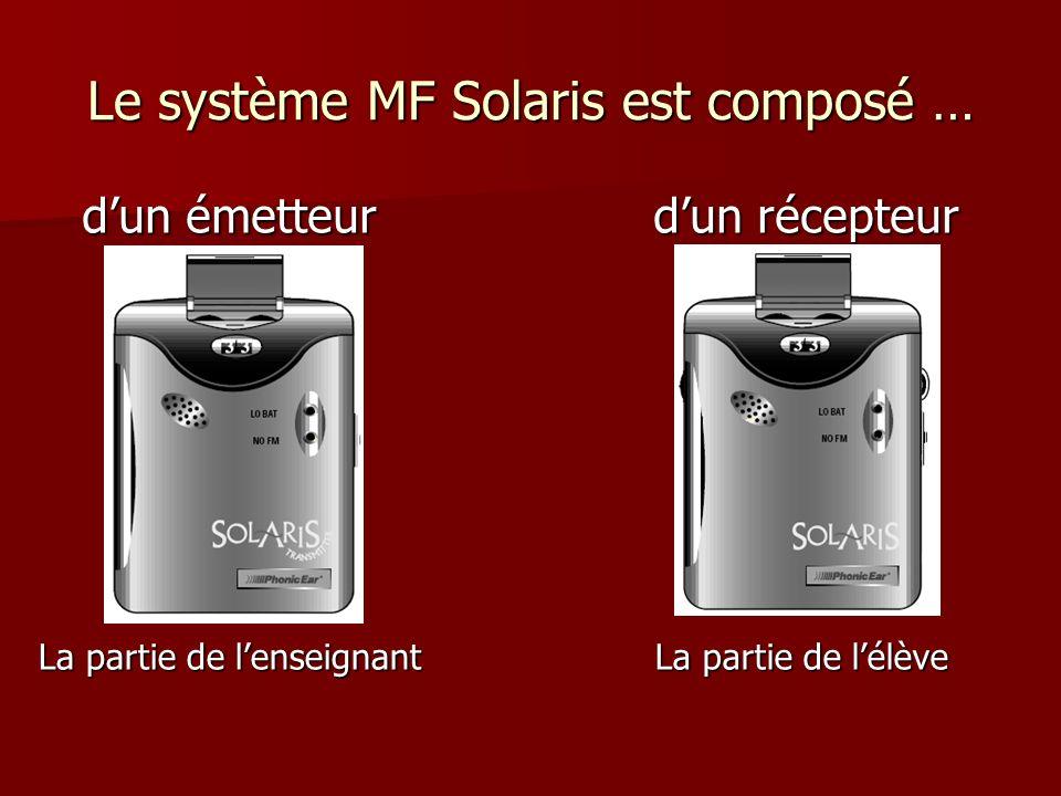 Le système MF Solaris est composé … dun émetteur dun récepteur La partie de lélève La partie de lenseignant