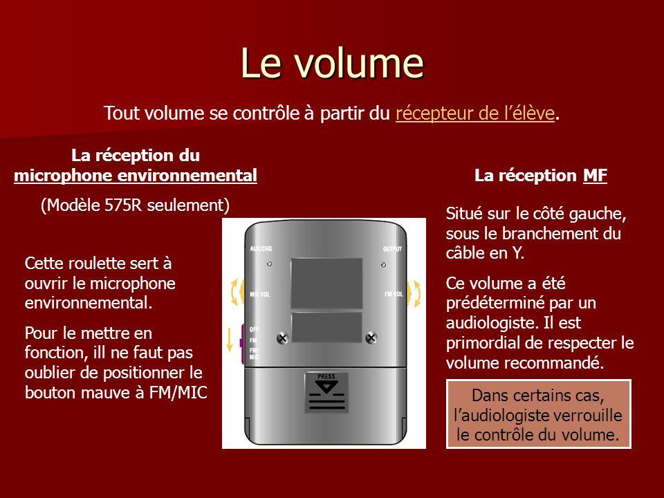 Le volume Tout volume se contrôle à partir du récepteur de lélève.