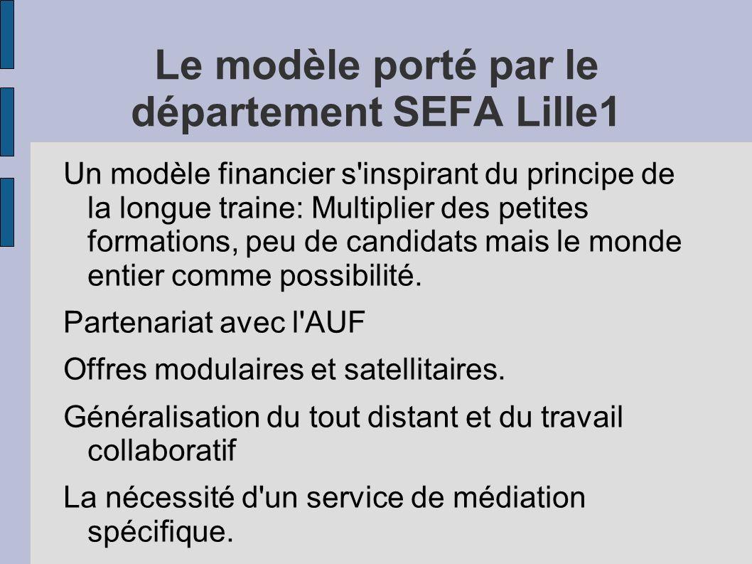 Le modèle porté par le département SEFA Lille1 Un modèle financier s'inspirant du principe de la longue traine: Multiplier des petites formations, peu