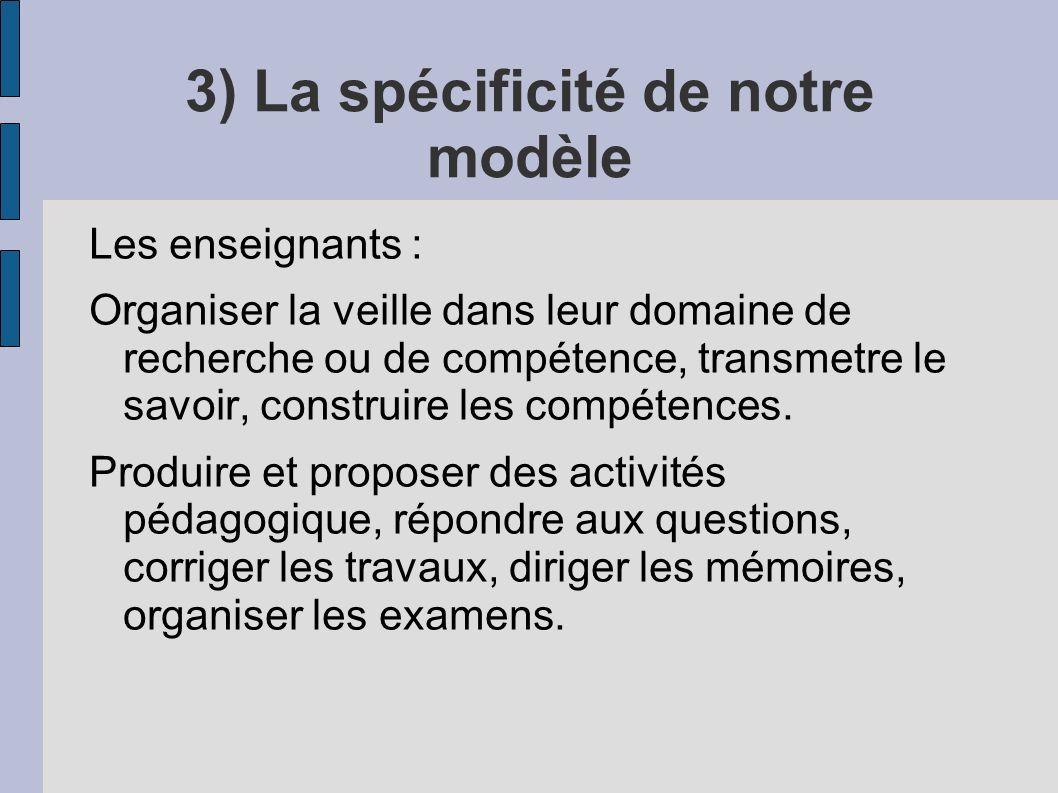 3) La spécificité de notre modèle Les enseignants : Organiser la veille dans leur domaine de recherche ou de compétence, transmetre le savoir, construire les compétences.