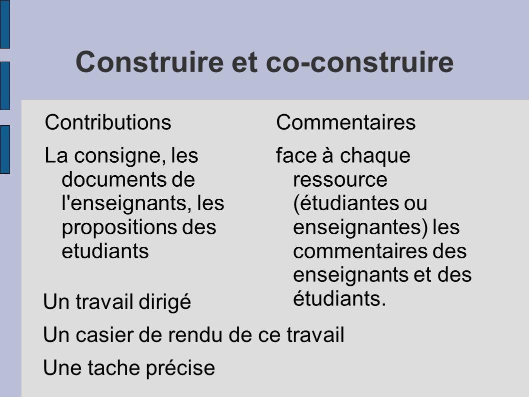 Construire et co-construire Contributions La consigne, les documents de l enseignants, les propositions des etudiants Commentaires face à chaque ressource (étudiantes ou enseignantes) les commentaires des enseignants et des étudiants.