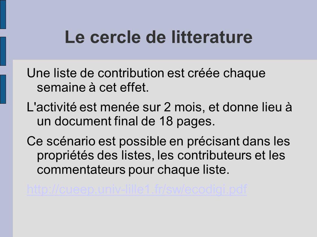 Le cercle de litterature Une liste de contribution est créée chaque semaine à cet effet. L'activité est menée sur 2 mois, et donne lieu à un document