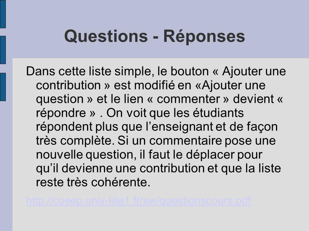Questions - Réponses Dans cette liste simple, le bouton « Ajouter une contribution » est modifié en «Ajouter une question » et le lien « commenter » devient « répondre ».