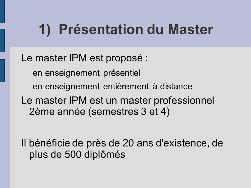 1) Présentation du Master Le master IPM est proposé : en enseignement présentiel en enseignement entièrement à distance Le master IPM est un master professionnel 2ème année (semestres 3 et 4) Il bénéficie de près de 20 ans d existence, de plus de 500 diplômés