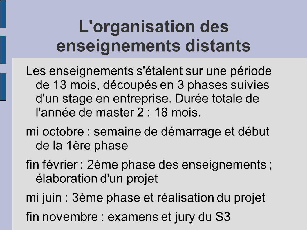 L'organisation des enseignements distants Les enseignements s'étalent sur une période de 13 mois, découpés en 3 phases suivies d'un stage en entrepris