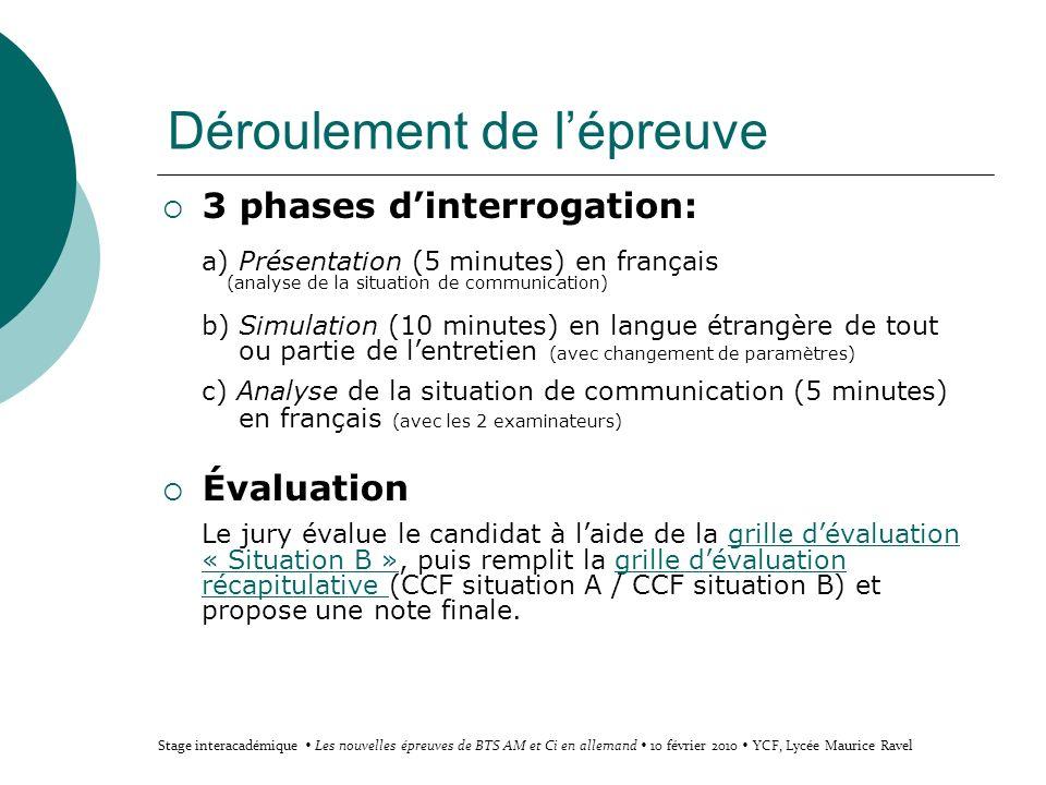 Déroulement de lépreuve 3 phases dinterrogation: a) Présentation (5 minutes) en français (analyse de la situation de communication) b) Simulation (10