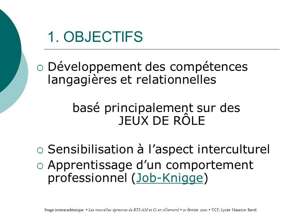 1. OBJECTIFS Développement des compétences langagières et relationnelles basé principalement sur des JEUX DE RÔLE Sensibilisation à laspect intercultu