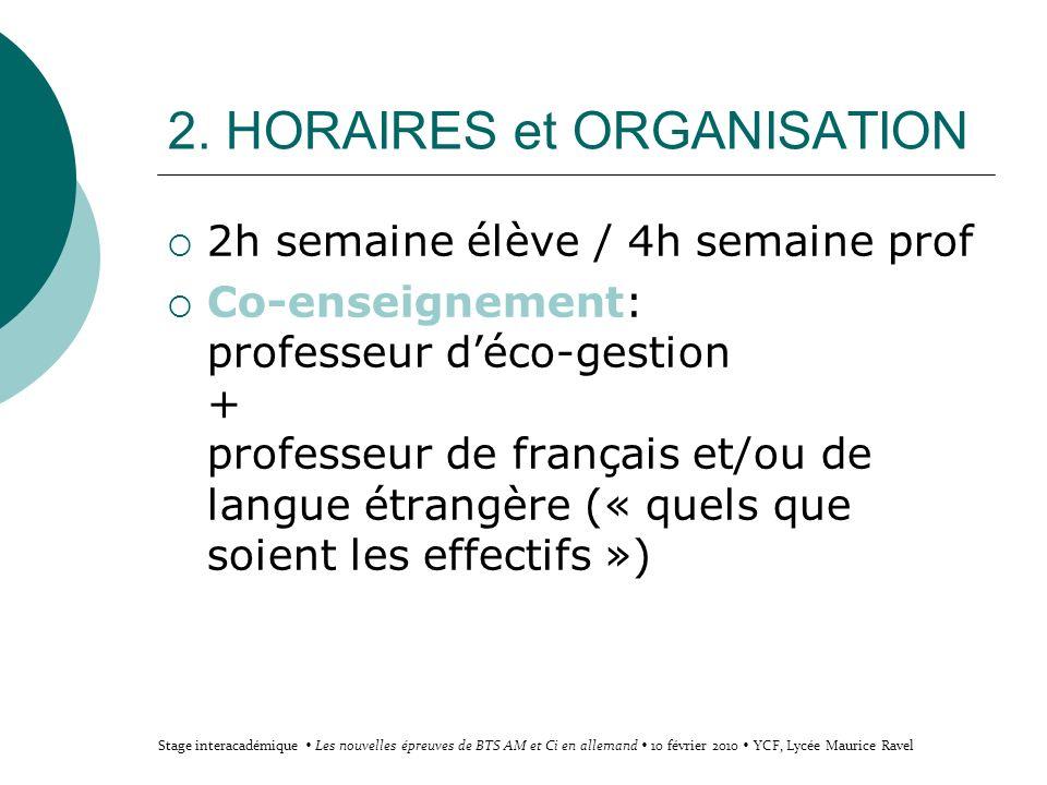 2. HORAIRES et ORGANISATION 2h semaine élève / 4h semaine prof Co-enseignement: professeur déco-gestion + professeur de français et/ou de langue étran