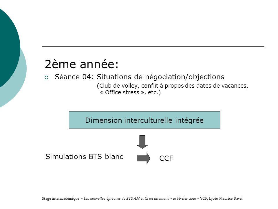 2ème année: Séance 04: Situations de négociation/objections (Club de volley, conflit à propos des dates de vacances, « Office stress », etc.) Dimensio