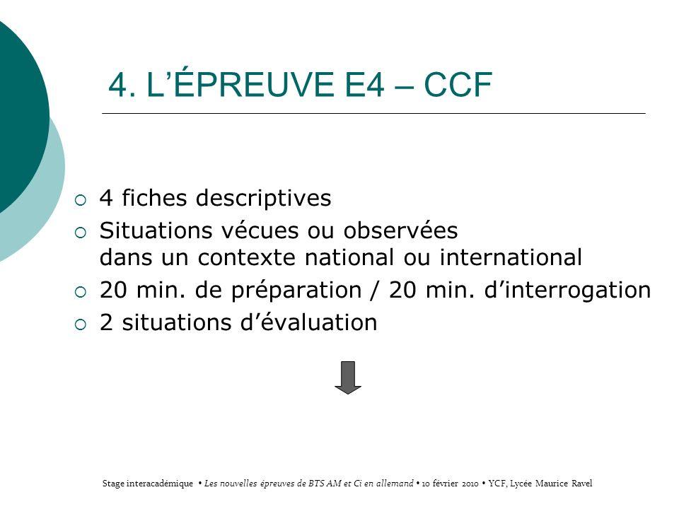 4. LÉPREUVE E4 – CCF 4 fiches descriptives Situations vécues ou observées dans un contexte national ou international 20 min. de préparation / 20 min.