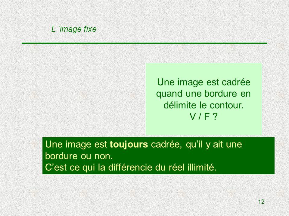12 Une image est cadrée quand une bordure en délimite le contour.
