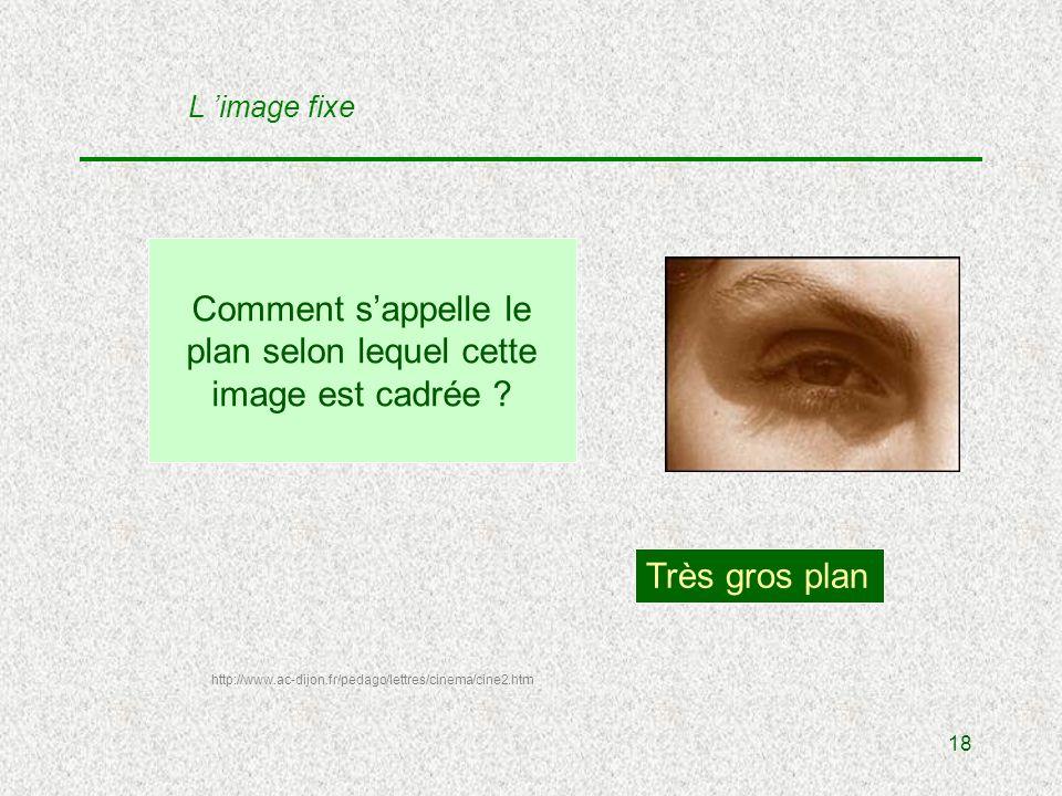 18 Comment sappelle le plan selon lequel cette image est cadrée .
