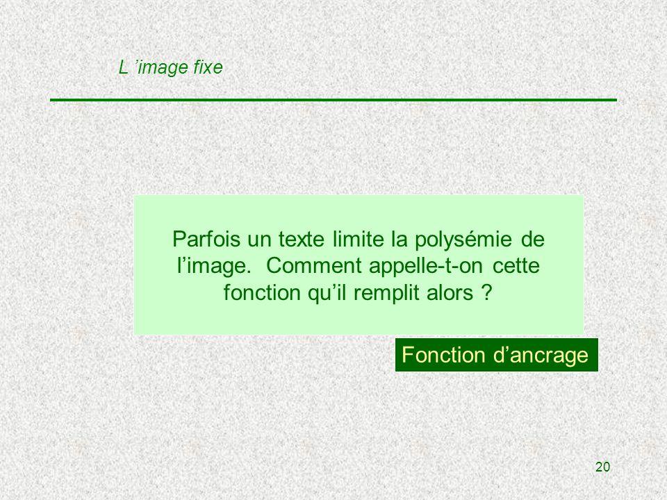 20 Parfois un texte limite la polysémie de limage.