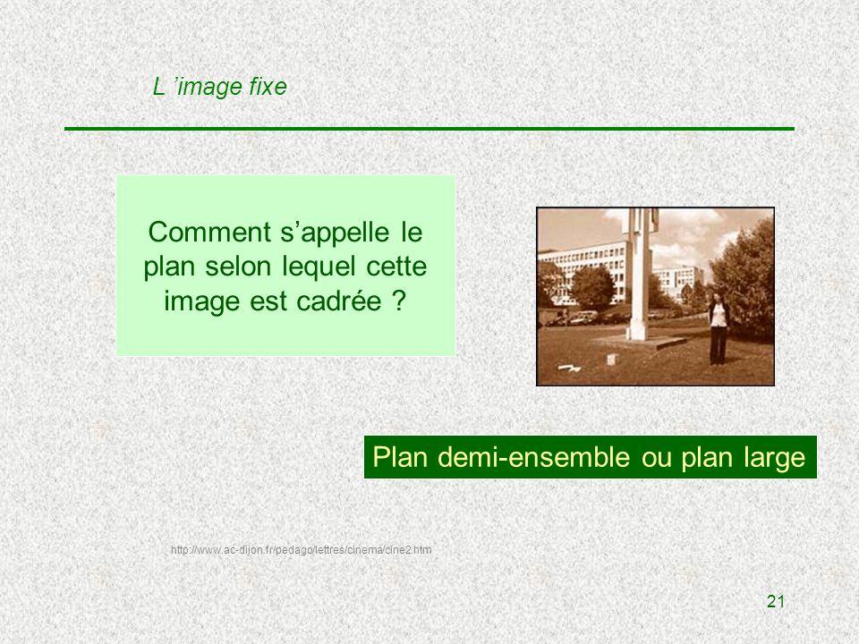 21 Comment sappelle le plan selon lequel cette image est cadrée .