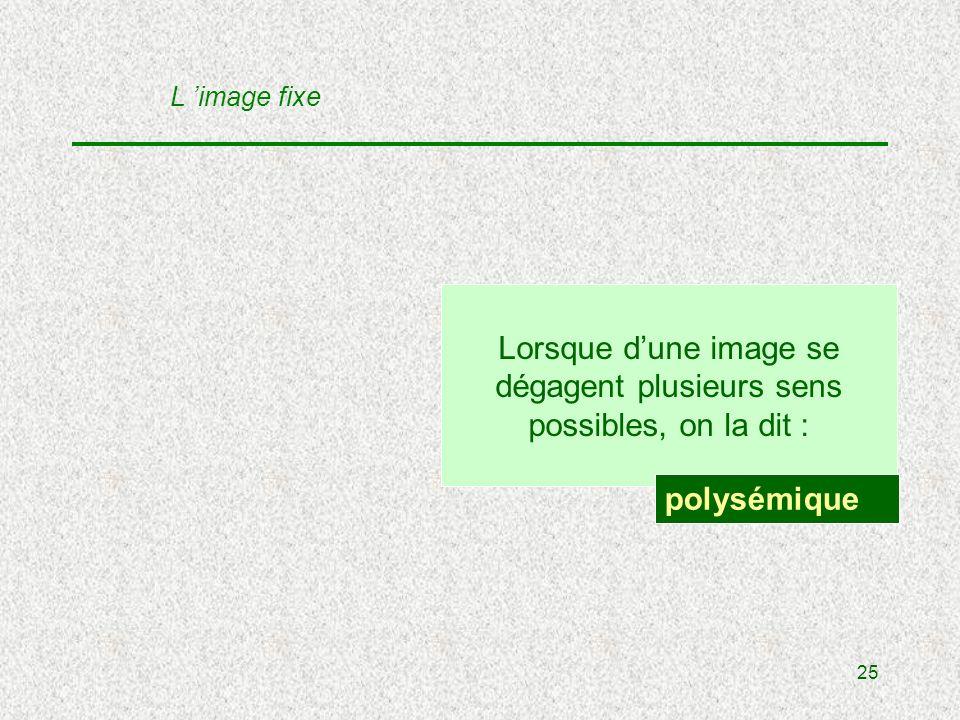 25 Lorsque dune image se dégagent plusieurs sens possibles, on la dit : polysémique L image fixe