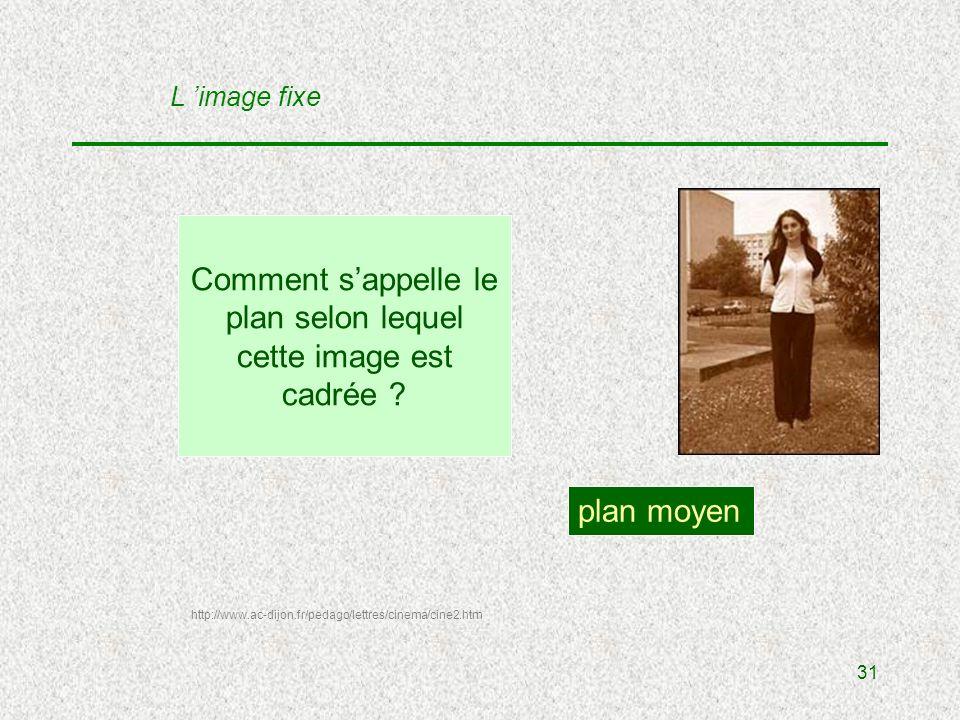 31 Comment sappelle le plan selon lequel cette image est cadrée .