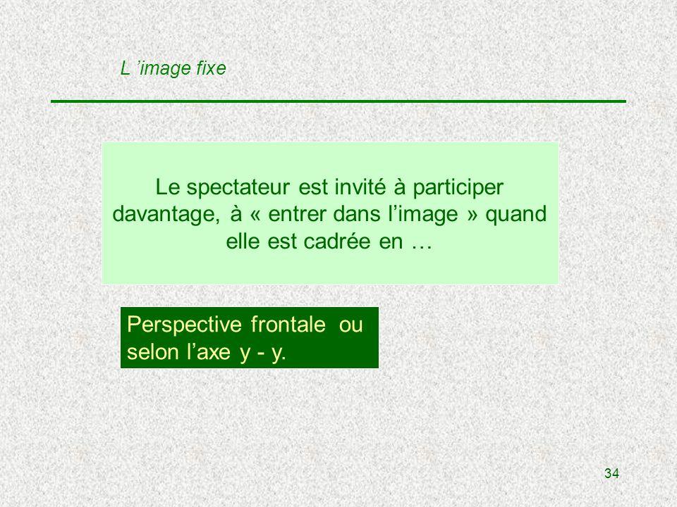 34 Le spectateur est invité à participer davantage, à « entrer dans limage » quand elle est cadrée en … Perspective frontale ou selon laxe y - y.