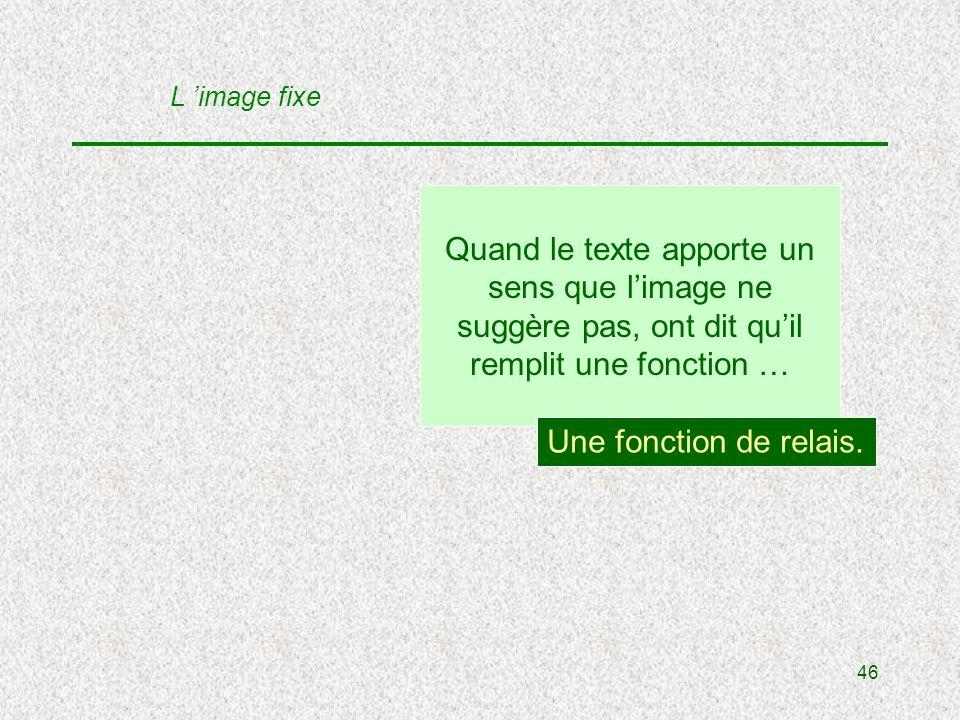 46 Quand le texte apporte un sens que limage ne suggère pas, ont dit quil remplit une fonction … Une fonction de relais.