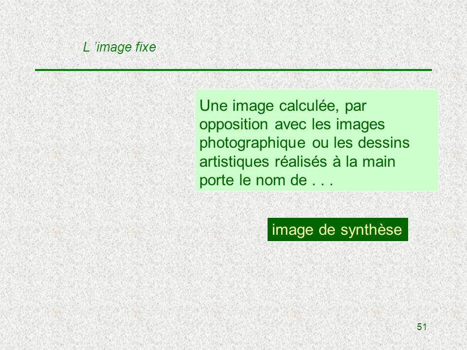 51 Une image calculée, par opposition avec les images photographique ou les dessins artistiques réalisés à la main porte le nom de...