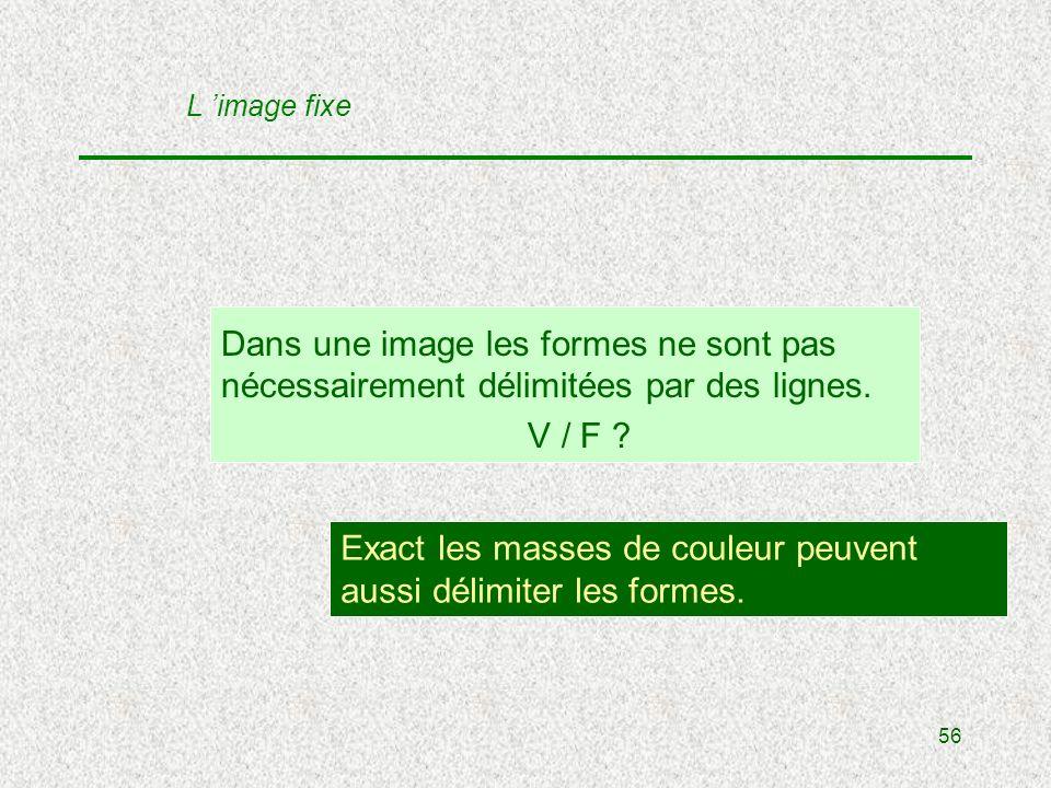 56 Dans une image les formes ne sont pas nécessairement délimitées par des lignes.