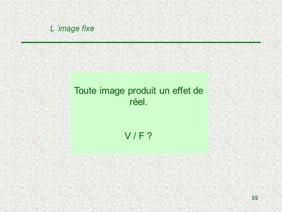 59 Toute image produit un effet de réel. V / F L image fixe