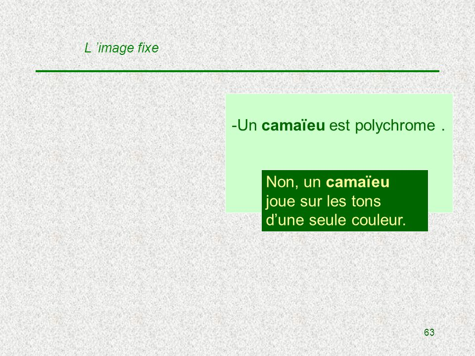 63 -Un camaïeu est polychrome. V / F . Non, un camaïeu joue sur les tons dune seule couleur.