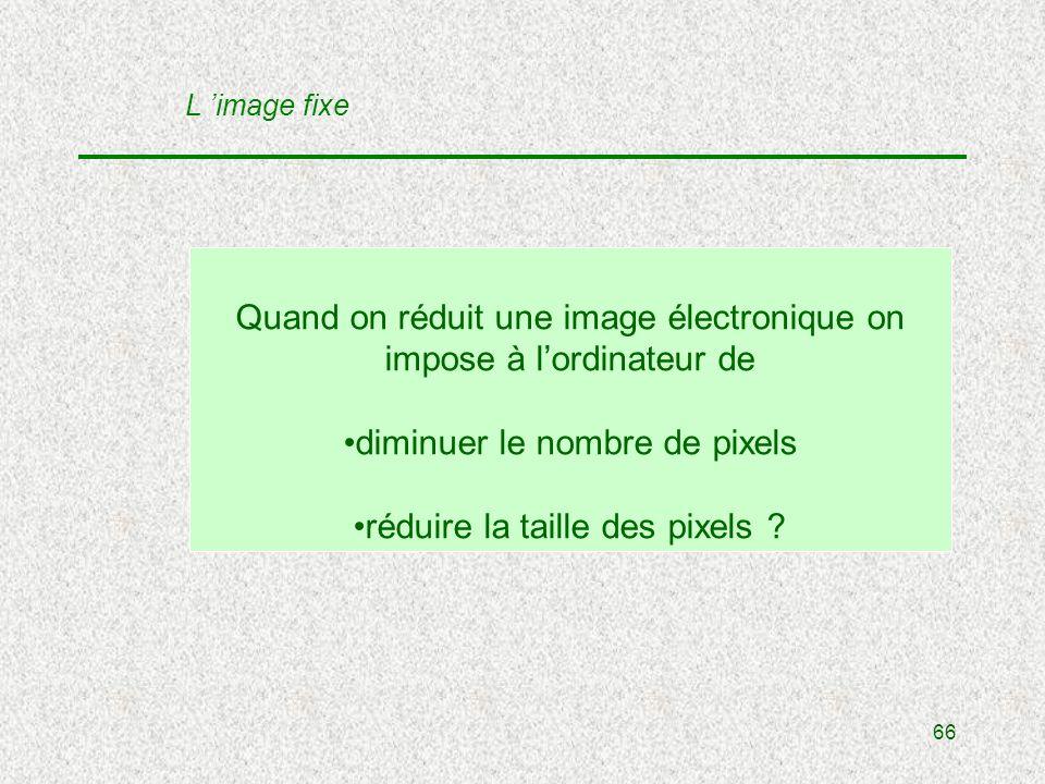 66 Quand on réduit une image électronique on impose à lordinateur de diminuer le nombre de pixels réduire la taille des pixels .