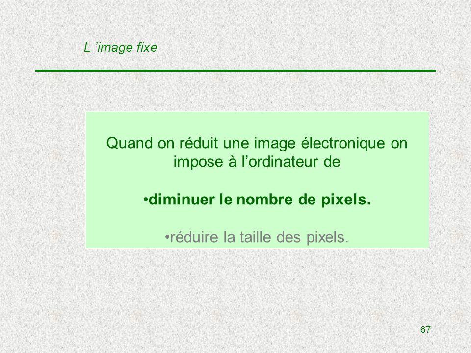 67 Quand on réduit une image électronique on impose à lordinateur de diminuer le nombre de pixels.