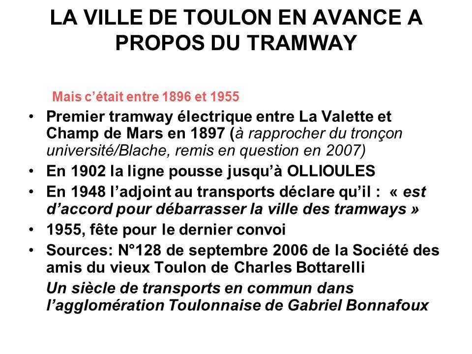 LA VILLE DE TOULON EN AVANCE A PROPOS DU TRAMWAY Mais cétait entre 1896 et 1955 Premier tramway électrique entre La Valette et Champ de Mars en 1897 (