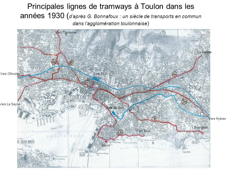 Principales lignes de tramways à Toulon dans les années 1930 ( daprès G. Bonnafoux : un siècle de transports en commun dans lagglomération toulonnaise