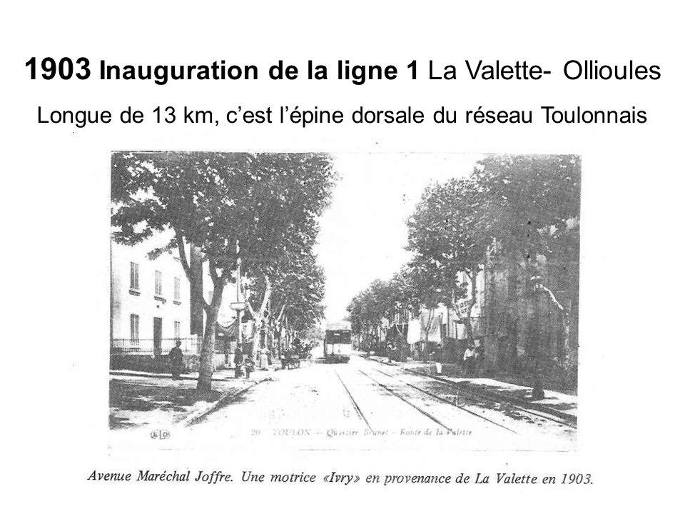 1903 Inauguration de la ligne 1 La Valette- Ollioules Longue de 13 km, cest lépine dorsale du réseau Toulonnais
