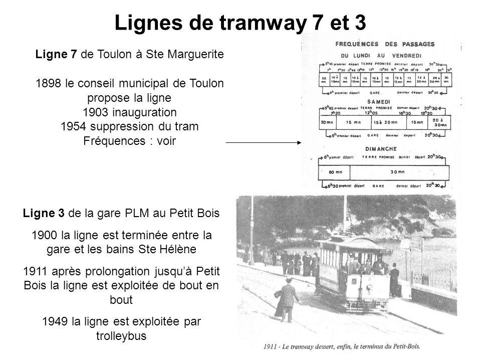 Lignes de tramway 7 et 3 Ligne 7 de Toulon à Ste Marguerite 1898 le conseil municipal de Toulon propose la ligne 1903 inauguration 1954 suppression du