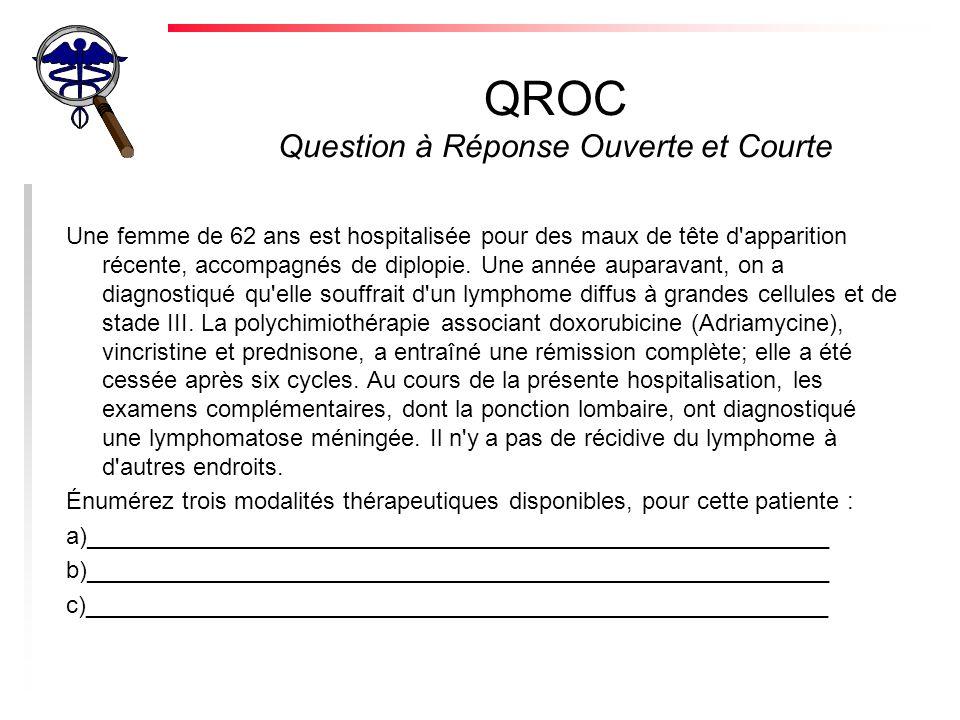 QROC Question à Réponse Ouverte et Courte Une femme de 62 ans est hospitalisée pour des maux de tête d apparition récente, accompagnés de diplopie.