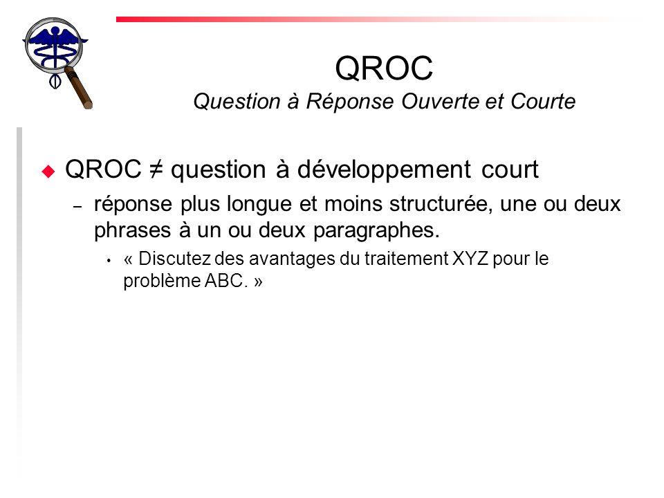 QROC Question à Réponse Ouverte et Courte u QROC question à développement court – réponse plus longue et moins structurée, une ou deux phrases à un ou deux paragraphes.