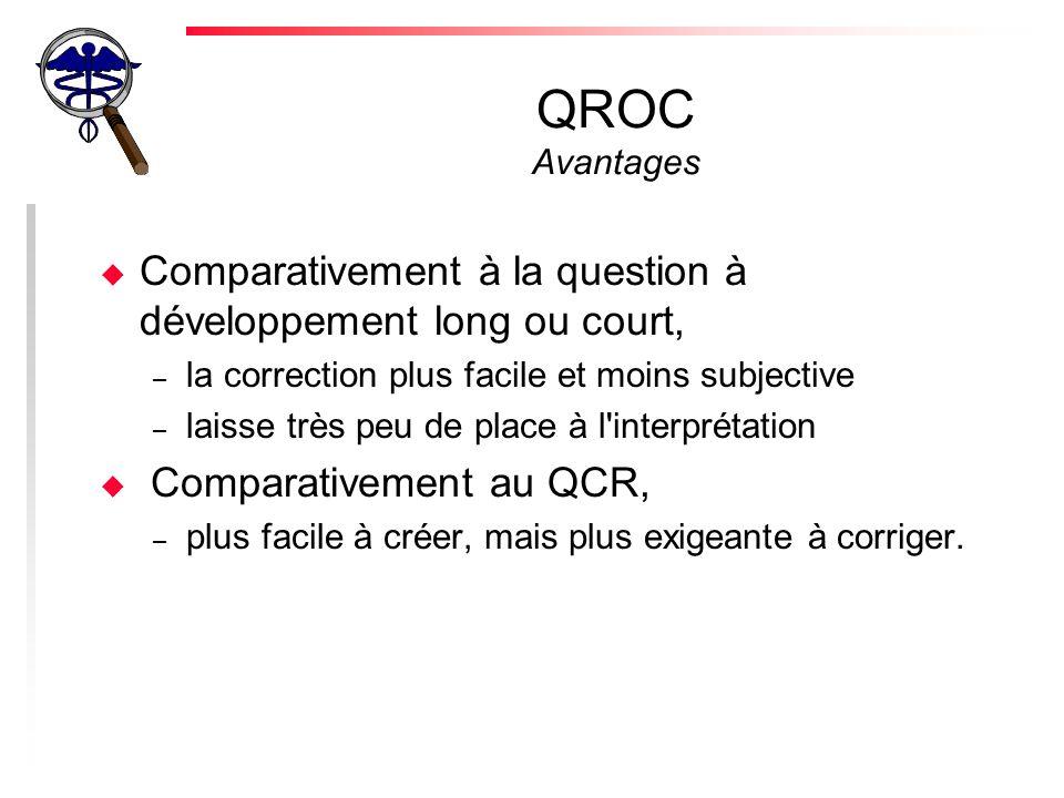 QROC Avantages u Comparativement à la question à développement long ou court, – la correction plus facile et moins subjective – laisse très peu de place à l interprétation u Comparativement au QCR, – plus facile à créer, mais plus exigeante à corriger.