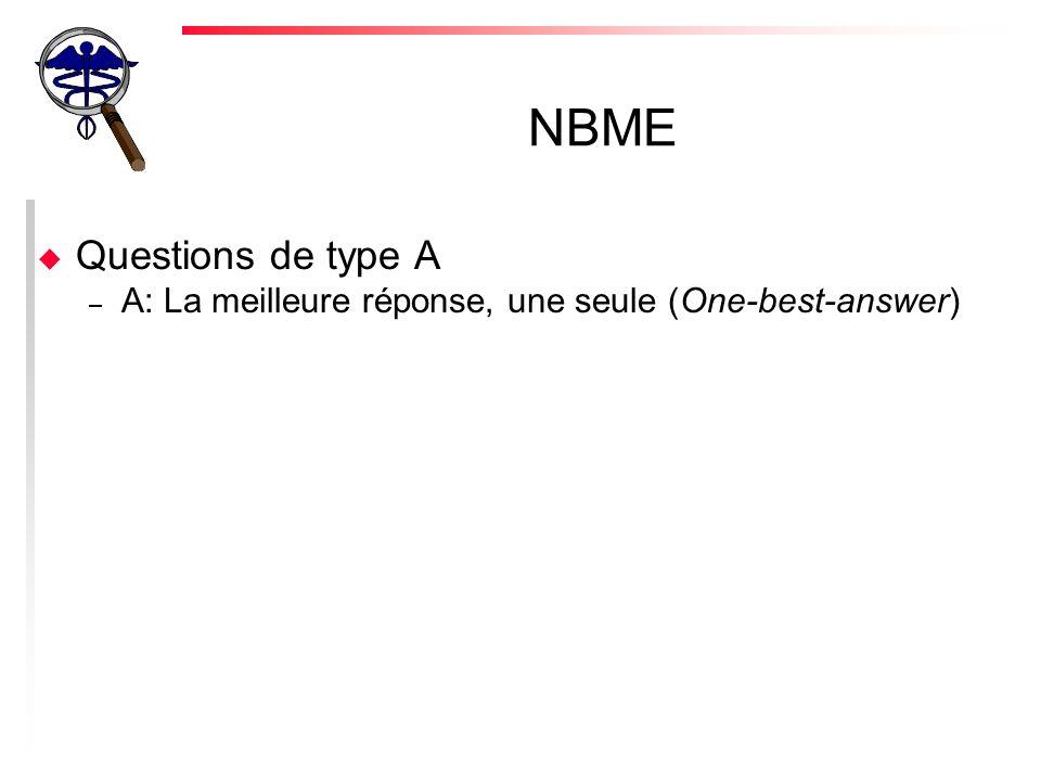 NBME u Questions de type A – A: La meilleure réponse, une seule (One-best-answer)